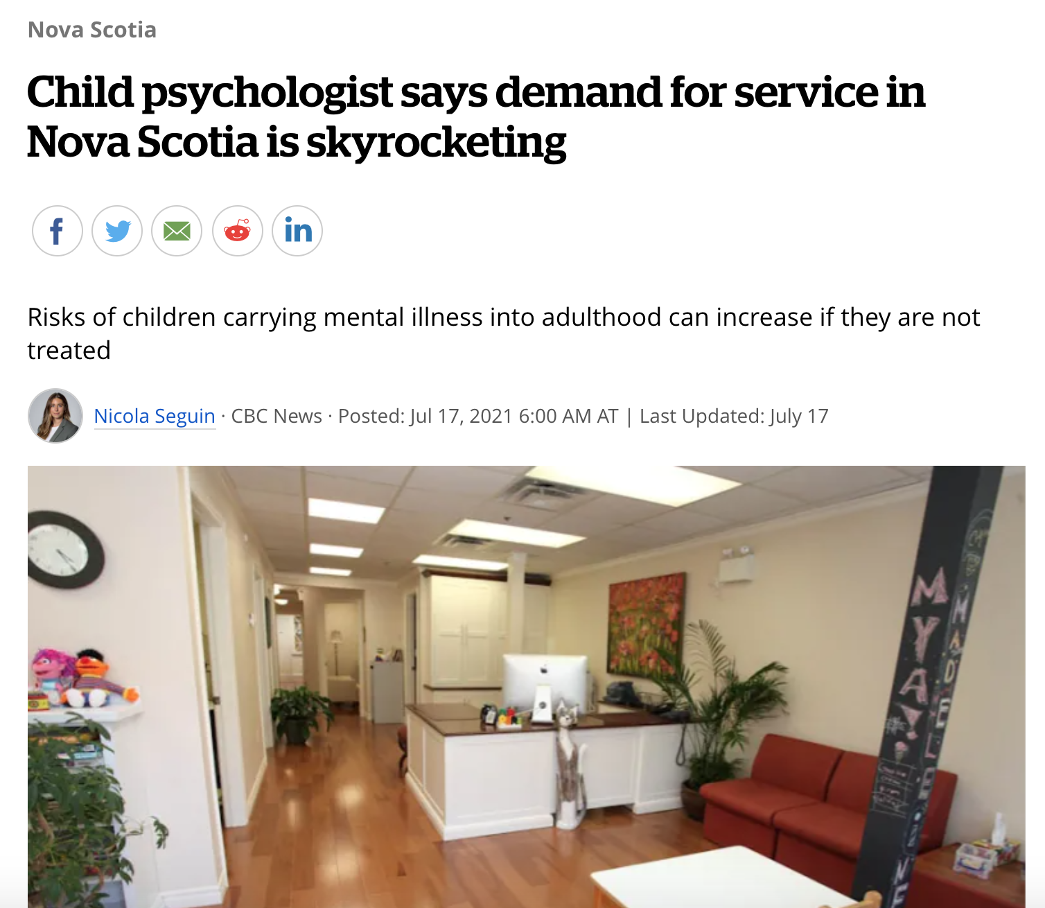 Child psychologist says demand for service in Nova Scotia is skyrocketing
